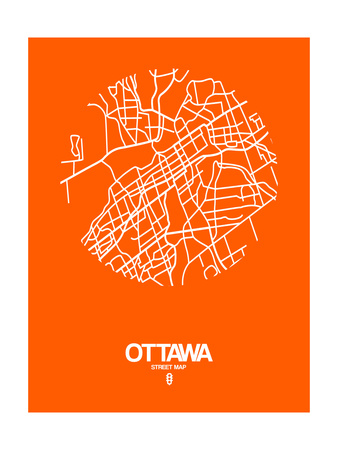 Ottawa Street Map Orange Prints by  NaxArt
