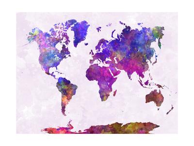 World Map in Watercolor Purple Warm Prints by  paulrommer
