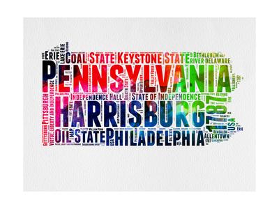 Pennsylvania Watercolor Word Cloud Art by  NaxArt