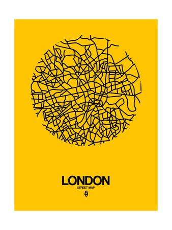London Street Map Yellow Posters by  NaxArt