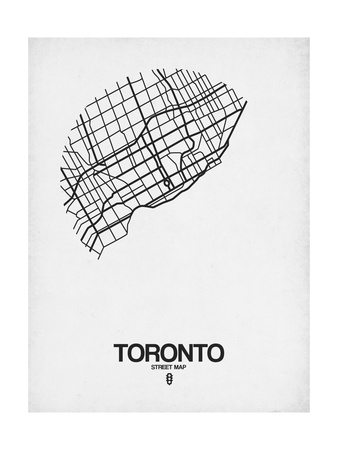 Toronto Street Map White Prints by  NaxArt