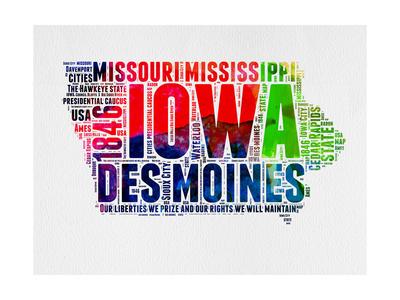 Iowa Watercolor Word Cloud Prints by  NaxArt