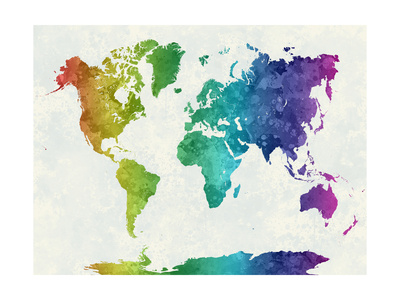 World Map in Watercolor Rainbow Posters by  paulrommer