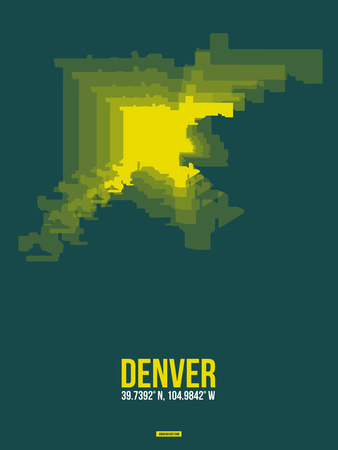 Denver Radiant Map 3 Plastic Sign by  NaxArt
