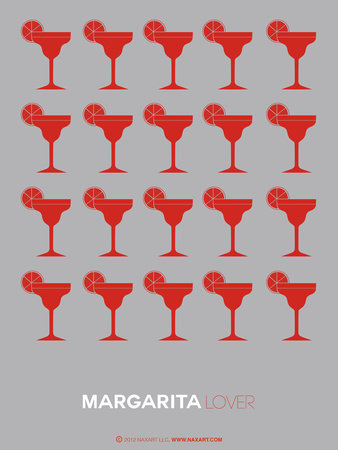 Red Margaritas Grey Poster Plastic Sign by  NaxArt