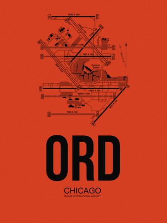 ORD Chicago Airport Orange Plastic Sign by  NaxArt