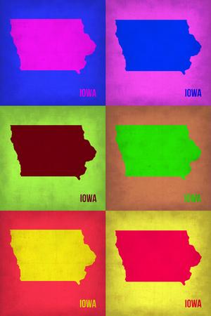 Iowa Pop Art Map 2 Plastic Sign by  NaxArt