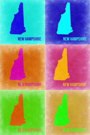 New Hampshire Pop Art Map 2 Plastic Sign by  NaxArt
