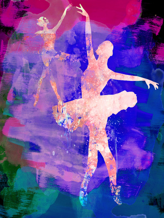 Two Dancing Ballerinas Watercolor 1 Plastic Sign by Irina March