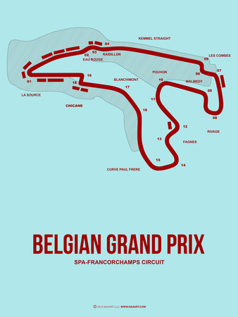 Belgian Grand Prix 3 Plastic Sign by  NaxArt