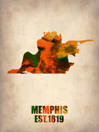 Memphis Watercolor Map Plastic Sign by  NaxArt