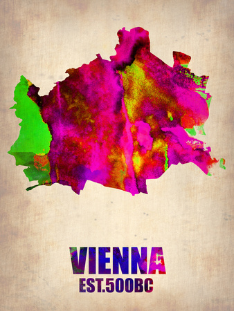 Vienna Watercolor Poster Plastic Sign by  NaxArt