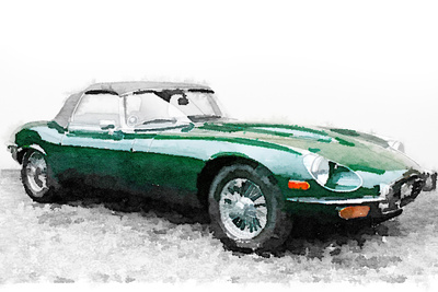 1961 Jaguar E-Type Watercolor Plastic Sign by  NaxArt
