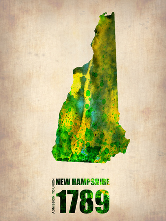 New Hampshire Watercolor Map Plastic Sign by  NaxArt