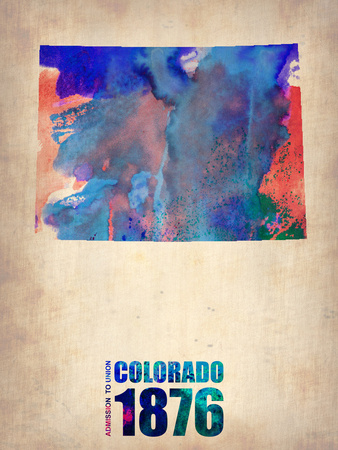 Colorado Watercolor Map Plastic Sign by  NaxArt