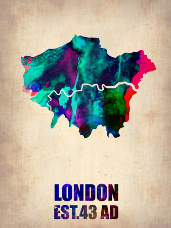 London Watercolor Map 2 Plastic Sign by  NaxArt!