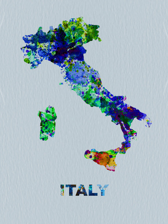 Italy Color Splatter Map Plastic Sign by  NaxArt