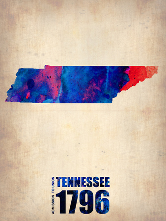 Tennessee Watercolor Map Plastic Sign by  NaxArt