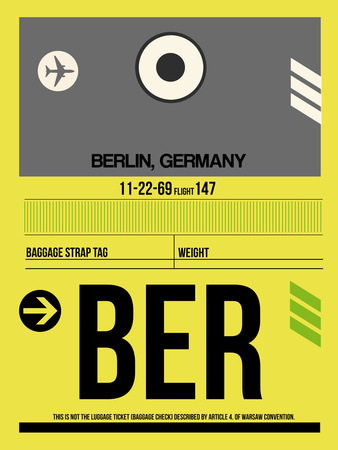 BER Berlin Luggage Tag 1 Plastic Sign by  NaxArt