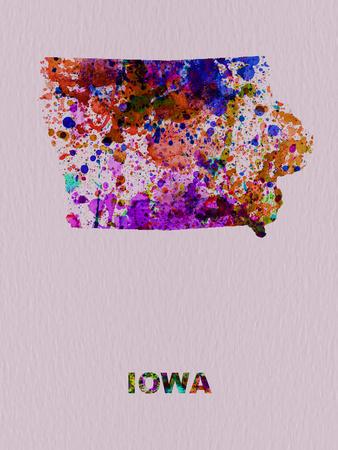 Iowa Color Splatter Map Plastic Sign by  NaxArt