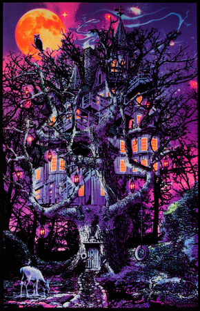 Opticz surreal treehouse blacklight poster wall art by Joseph Charron