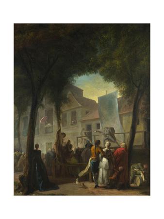 A Street Show in Paris, 1760 Giclee Print by Gabriel Jacques de Saint-Anton