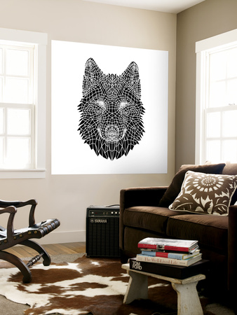 Black Woolf Head Mesh Wall Mural by  NaxArt