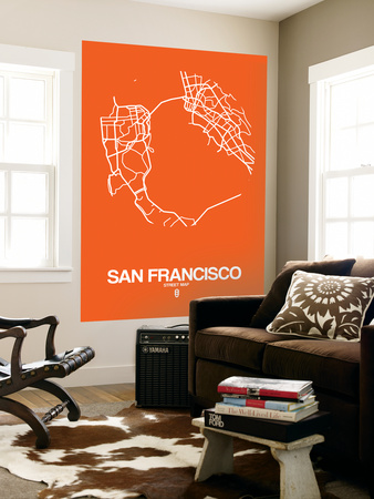 San Francisco Street Map Orange Wall Mural by  NaxArt