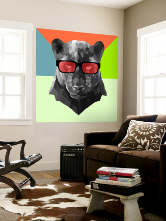 Party Panther in Red Glasses Wall Mural by Lisa Kroll