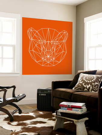 Orange Bear Polygon Wall Mural by Lisa Kroll