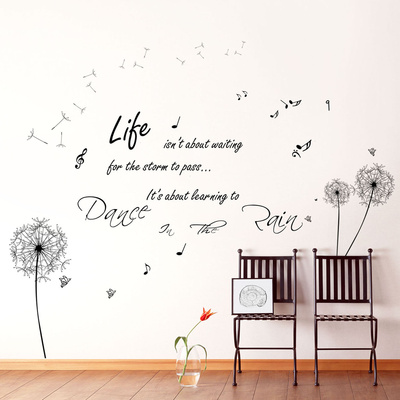 Huge Black Dandelion & Dance in the Rain Wall Decal