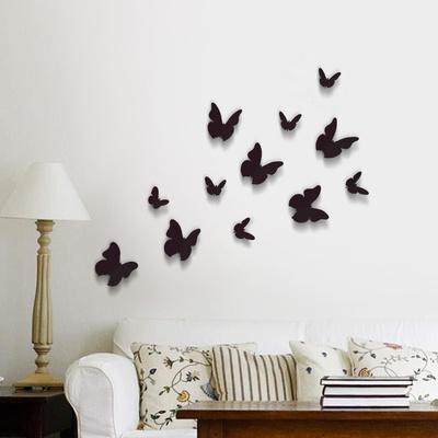 3D Butterflies - Black Duvar Çıkartması