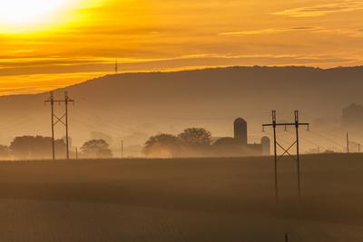 Sunrise and Fog over a Farm Along Pennsylvania Route 23 East of Lancaster, Pennsylvania Photographic Print by Richard Nowitz