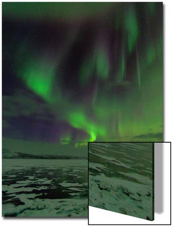 A Colorful Aurora Display over a Frozen Lake Prints by Babak Tafreshi