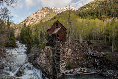 The Crystal Mill Sits on a Rocky Out Cropping over Crystal River, Colorado Photographic Print by Pete McBride