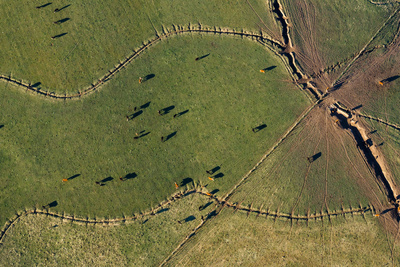 An Aerial View of Pastures in Carbondale, Colorado Photographic Print by Pete McBride