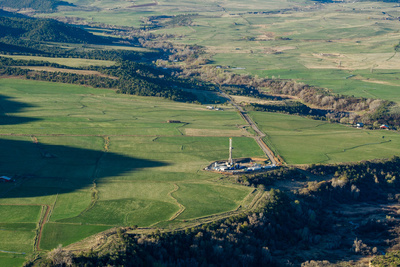 An Aerial View of Fields and Crystal River in Carbondale, Colorado Photographic Print by Pete McBride