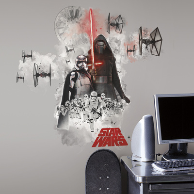 Star Wars Episode 7: The Force Awakens villains giant wall decal burst, Captain Phasma, Kylo Ren, Space fighters and stormtroopers