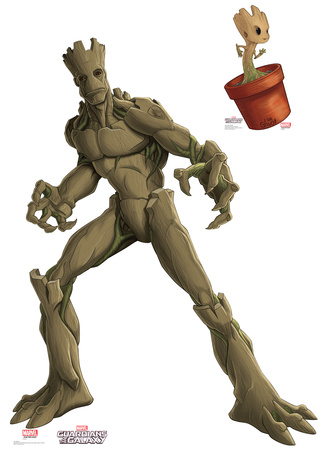 Groot & Little Groot - Animated Guardians Of The Galaxy Lifesize Standup Cardboard Cutouts
