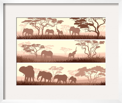 Horizontal Banners of Wild Animals in African Savanna. Prints by  Vertyr