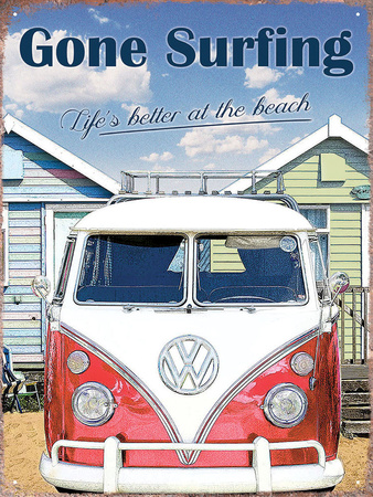 VW Gone Surfing Tin Sign
