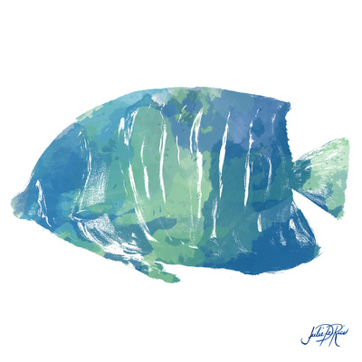 Watercolor Fish in Teal IV Art by Julie DeRice
