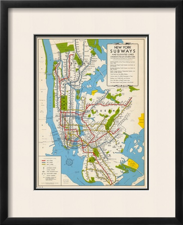 1949, New York Subway Map, New York, United States Framed Giclee Print