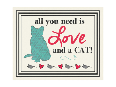 Love and a Cat Print by Jo Moulton