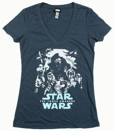 Juniors: Star Wars The Force Awakens- Poster Out V-neck tee Shirt