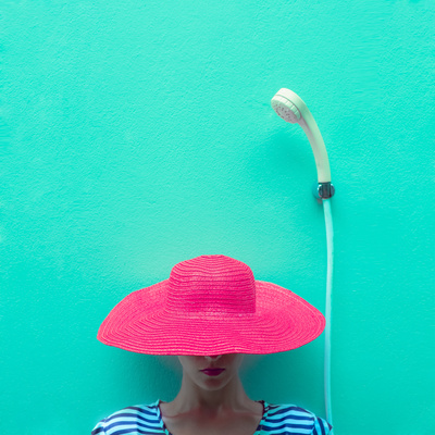 Portrait of a Girl in a Pink Hat in the Shower Photographic Print by Evgeniya Porechenskaya