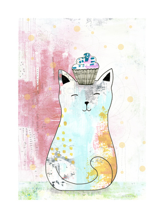 Cat with Cupcake 1 Posters by Sarah Ogren