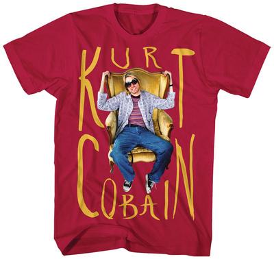 Kurt Cobain- Sitting Chair Photo T-shirts