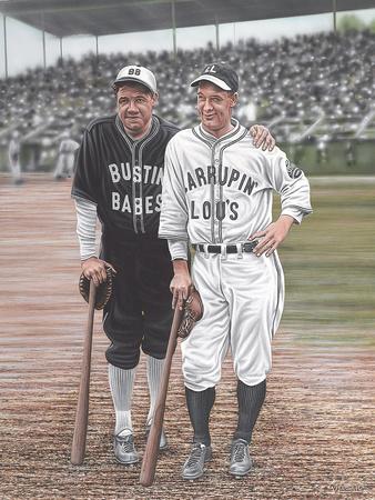 Babe Ruth and Lou Gehrig Giclee Print by Darryl Vlasak!