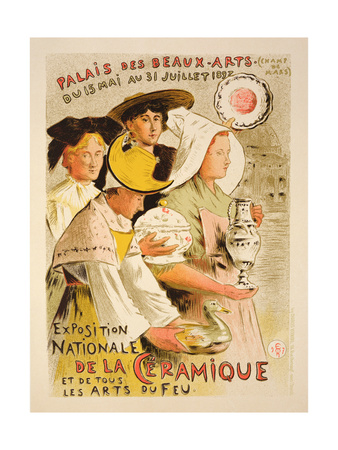 Reproduction of a Poster Advertising the 'National Exhibition of Ceramics', 1897 Giclee Print by Etienne Moreau-Nelaton